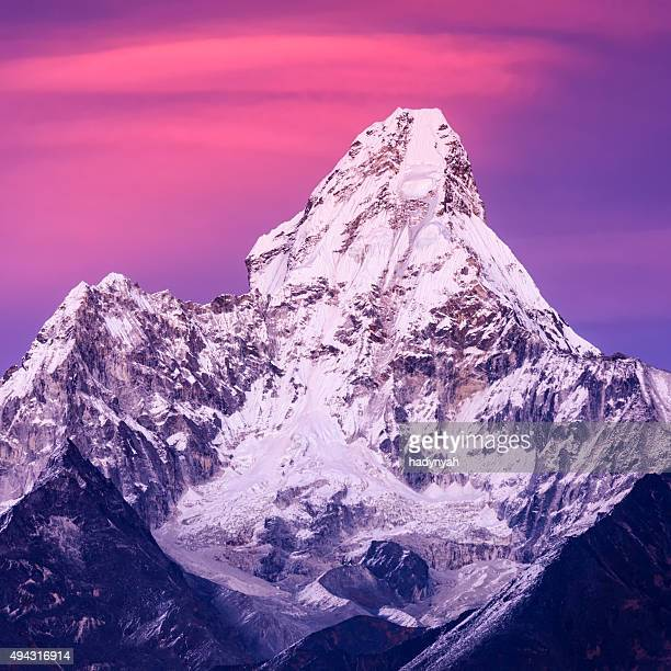 Sunset over beautiful Mount Ama Dablam in Himalayas, Nepal