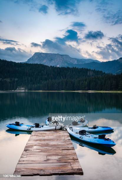 sunset over black lake, montenegro - montenegro bildbanksfoton och bilder