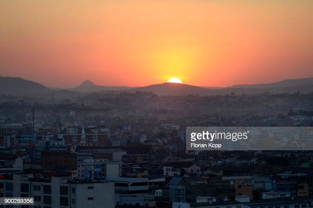 sunset over capital city antananarivo, madagascar - antananarivo stock photos and pictures