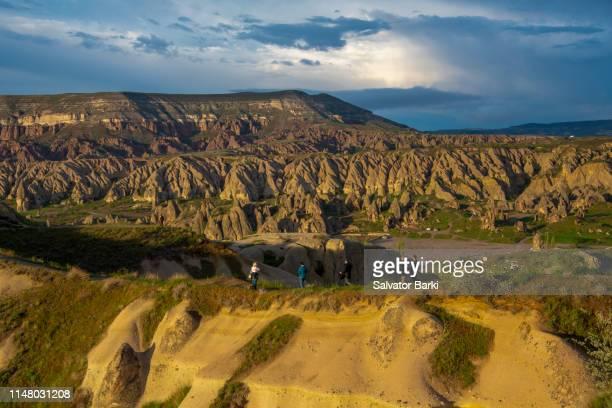 sunset over cappadocia - personnage imaginaire photos et images de collection