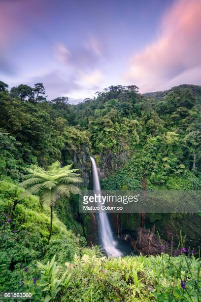 Sunset over Catarata del Toro waterfall, Costa Rica