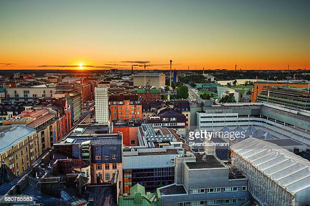 Sunset over city skyline, Helsinki, Finland