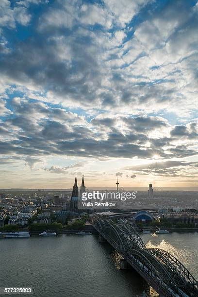 Sunset over Cologne city