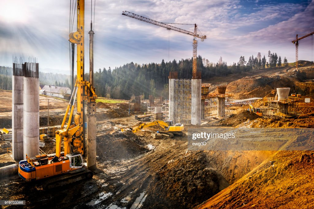 Sunset over construction of the viaduct on the new S7 highway, Poland : Stock Photo