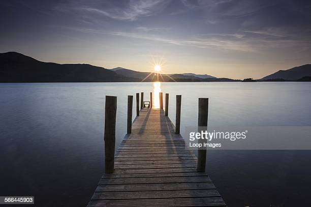 Sunset over Derwent Water from Ashness Jetty near Keswick in the Lake District