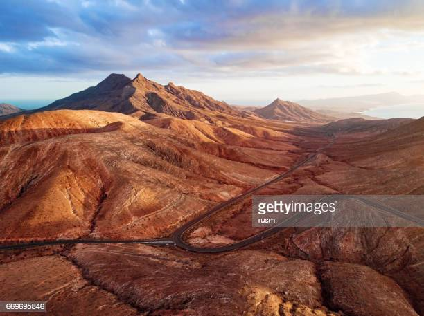 Sunset over desert landscape of Fuerteventura, Canary islands