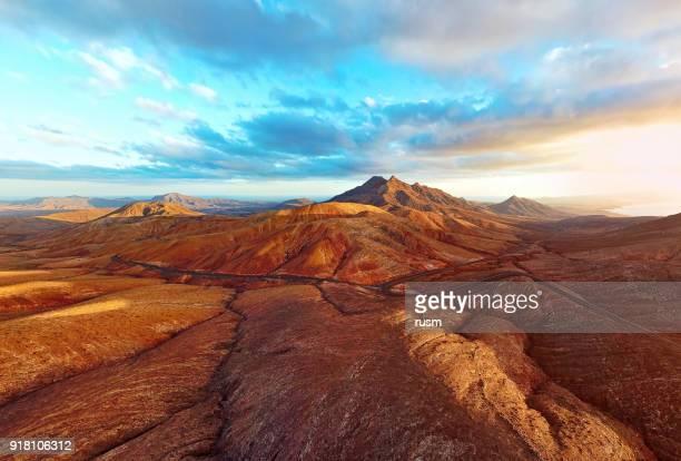 Sunset over desert landscape of Fuerteventura, Canary islands