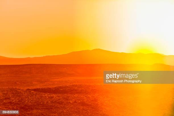 Sunset over desert landscape
