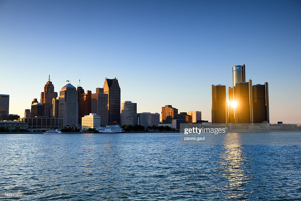 Sunset over Detroit, Michigan : Stock Photo