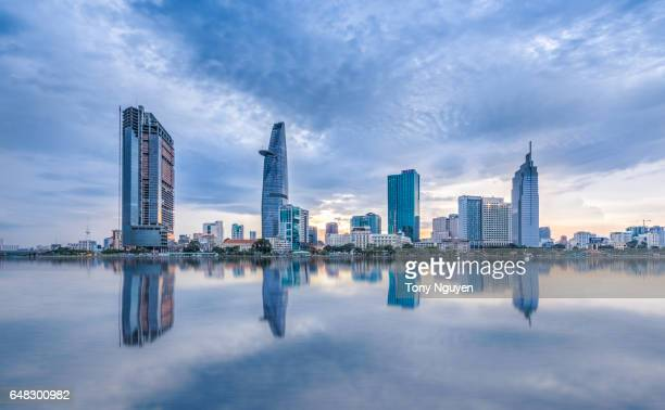 sunset over downtown saigon, ho chi minh city - the biggest city in vietnam. - ho chi minh city stock pictures, royalty-free photos & images