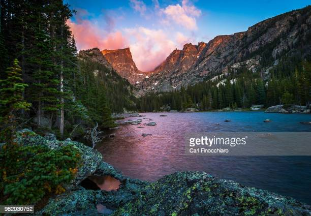 Sunset over Dream Lake in the Rocky Mountain National Park, Colorado, USA