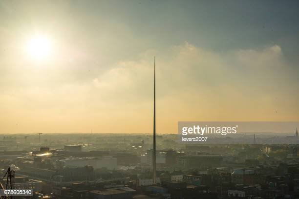 Sunset over Dublin city centre, Ireland.