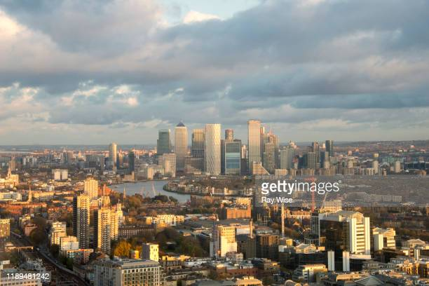 sunset over east london from an aerial view. - skyline stock pictures, royalty-free photos & images