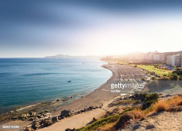 Sunset over Faliraki Ammoudes bay, Rhodes