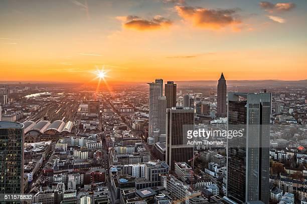 Sunset over Frankfurt skyline (Germany)