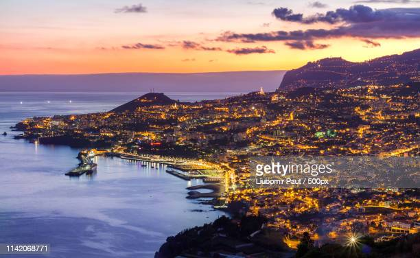 sunset over funchal, madeira, portugal - funchal stock pictures, royalty-free photos & images
