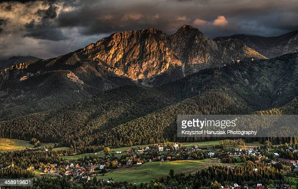 Sunset over Giewont Mountain in Poland
