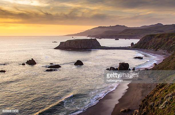sunset over goat rock, northern california - sonoma county stock pictures, royalty-free photos & images