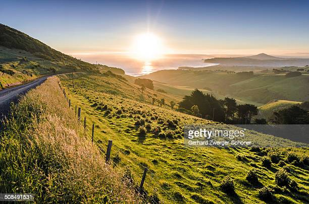 Sunset over grassland and a country road, Dunedin Beach at the back, Otago Peninsula, South Island, New Zealand, Oceania