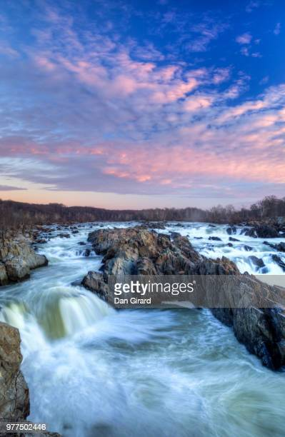 sunset over great falls, fairfax county, virginia, usa - fairfax county virginia stock photos and pictures