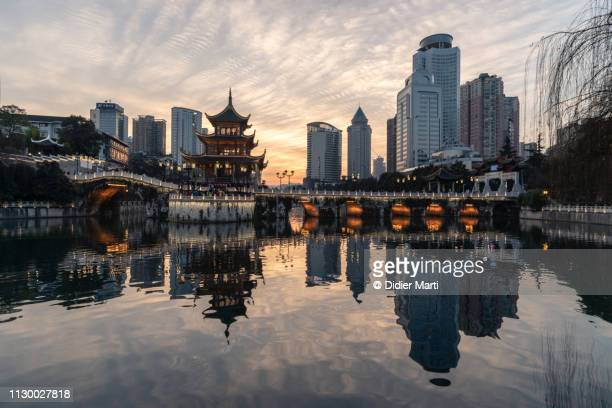 Sunset over Guiyang downtown district in Guizhou province, China