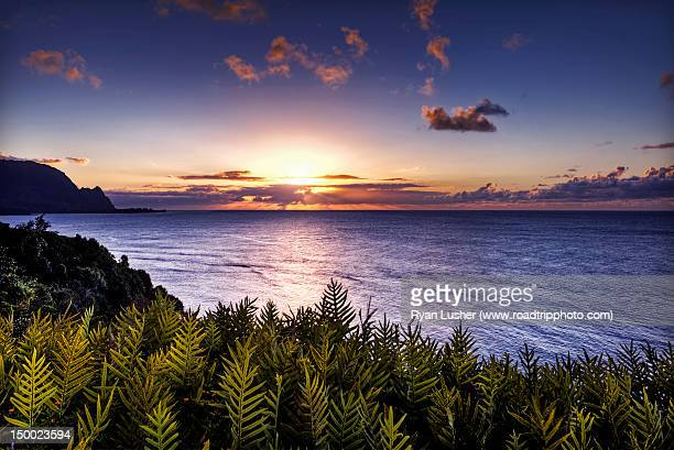 Sunset over hanali bay