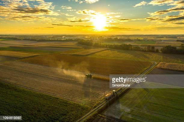 収穫された農地に沈む夕日 - ドローン撮影 ストックフォトと画像