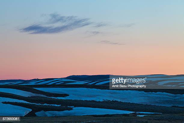 sunset over hayden valley, yellowstone - amit basu stock pictures, royalty-free photos & images