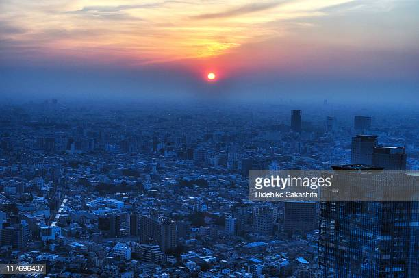 Sunset over Hazy Tokyo