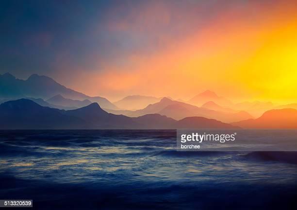 Sunset Over Heavy Sea