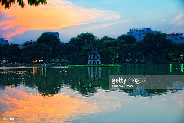 Sunset over Hoan Kiem Lake, Hanoi, Vietnam