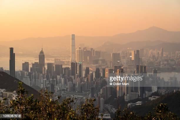 Sunset over Hong Kong island business district
