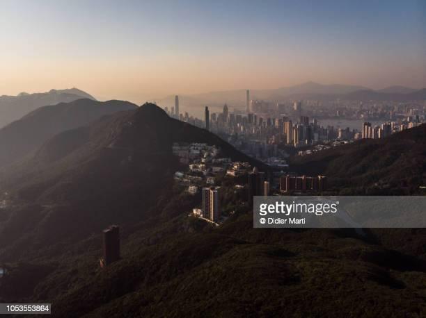 Sunset over Hong Kong island