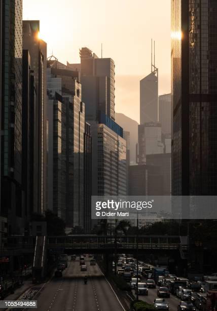 Sunset over Hong Kong island street