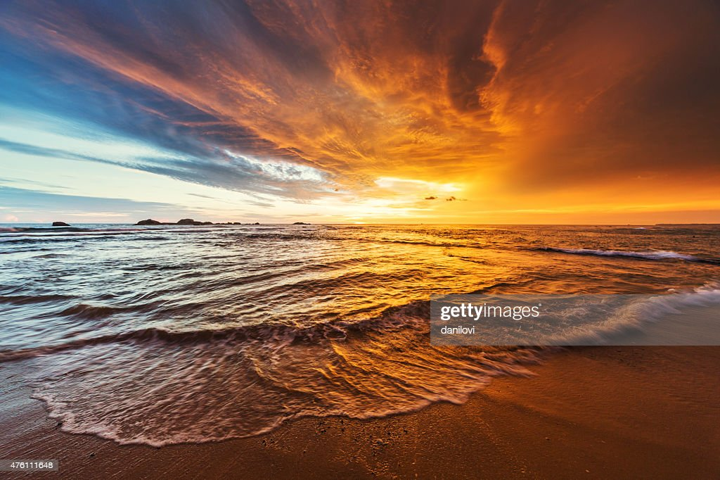 Sunset over Indian ocean : Stock Photo