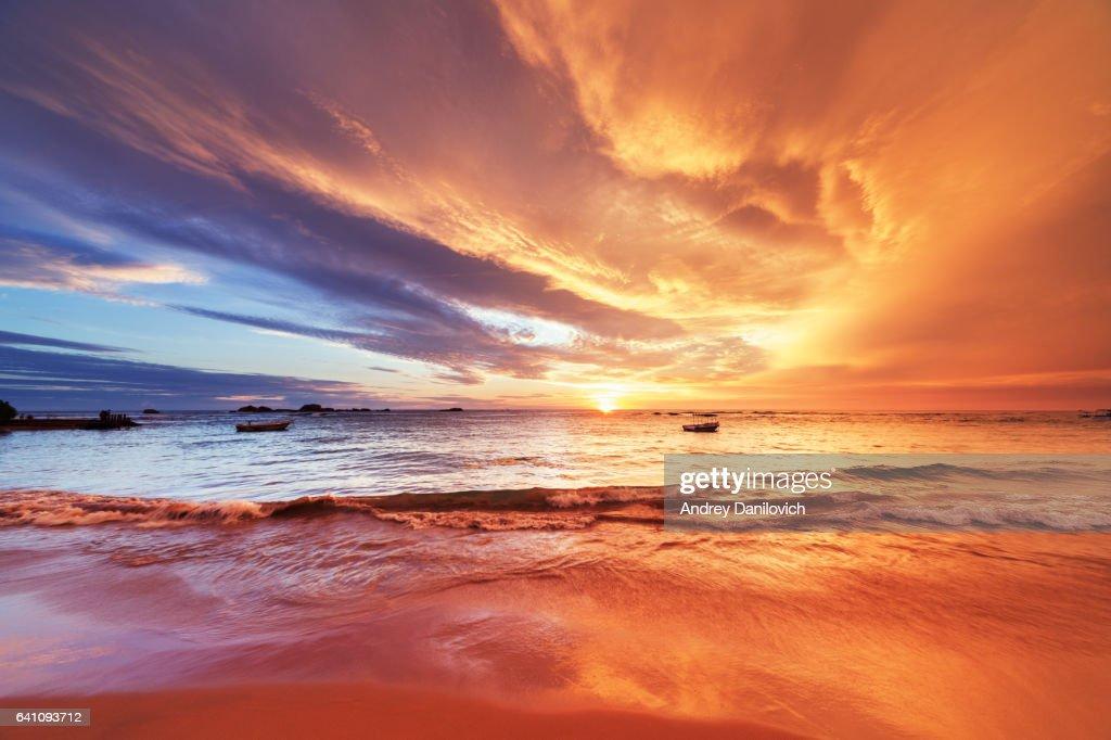 Pôr do sol sobre o Oceano Índico : Foto de stock