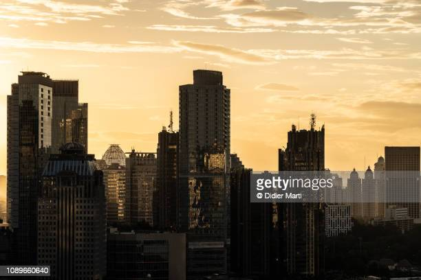 Sunset over Jakarta business district in Indonesia capital city.