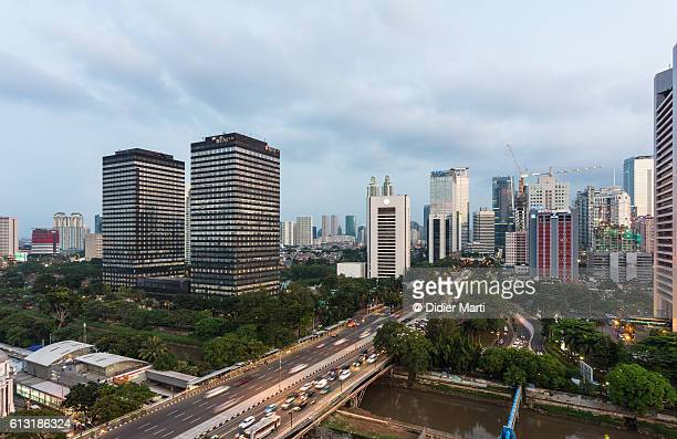 Sunset over Jakarta business district, Indonesia capital city.