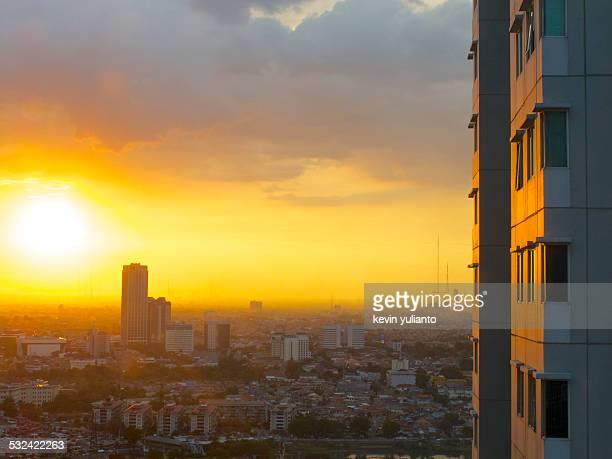 Sunset Over Jakarta Cityscape