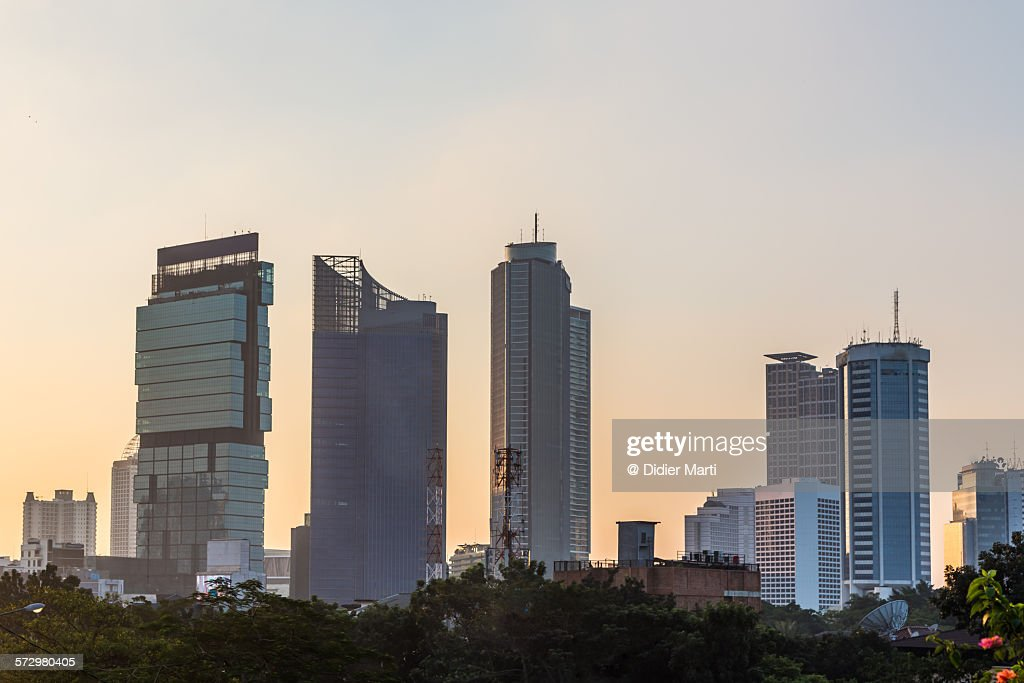 Sunset over Jakarta : Stock Photo