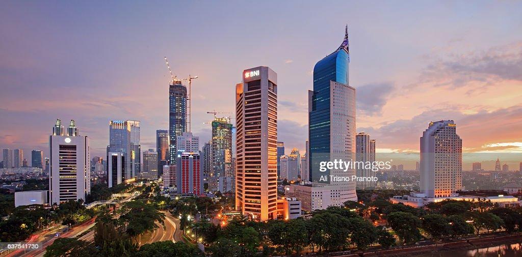 Sunset over Jakarta Skyline, Capital city of Indonesia. Jakarta, Indonesia. : Stock Photo