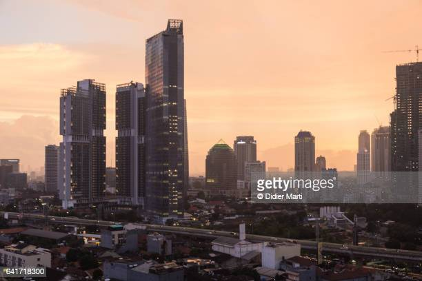 Sunset over Jakarta skyline, Indonesia capital city