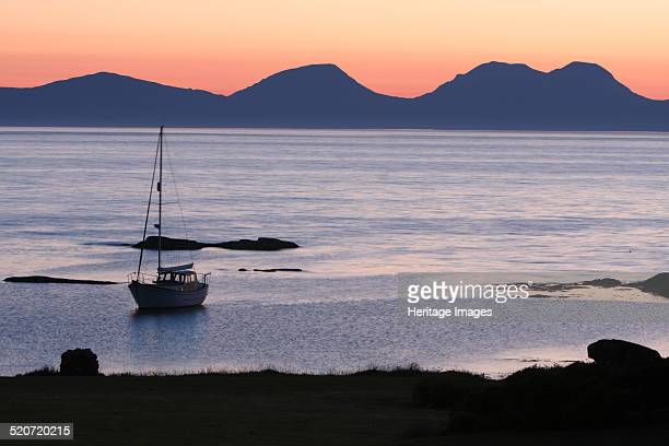 Sunset over Jura seen from Kintyre Argyll and Bute Scotland