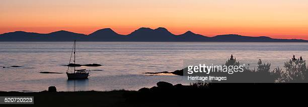 Sunset over Jura seen from Kintyre, Argyll and Bute, Scotland.