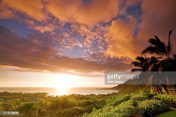 sunset over kealakekua bay - kona coast stock photos and pictures