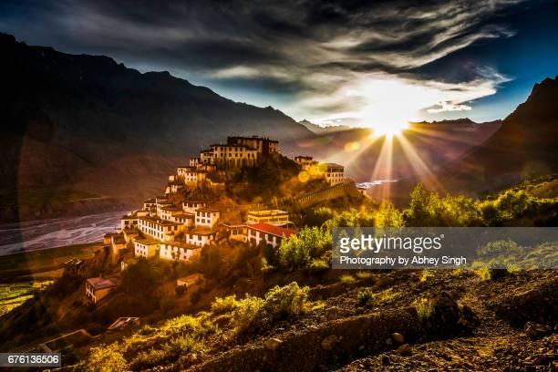 Sunset over Key Gompa - Tibetan Buddhist Monastery in Himalayas, Spiti, Himachal pradesh, India