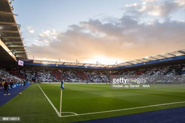 A sunset over King Power Stadium home stadium of Leicester City prior to the Premier League match between Leicester City and Everton at The King...