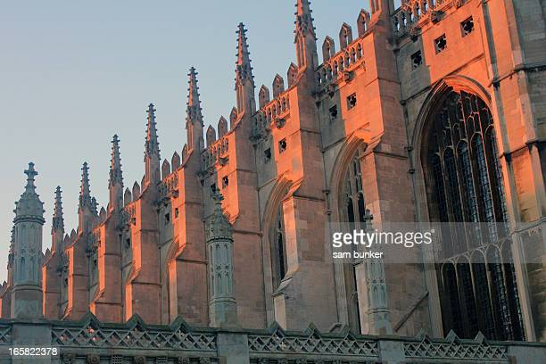 sunset over kings college chapel - cambridge cambridgeshire imagens e fotografias de stock
