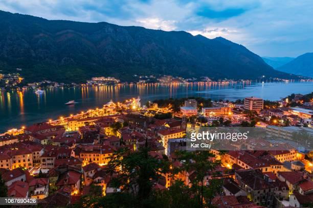 sunset over kotor, montenegro - アドリア海 ストックフォトと画像