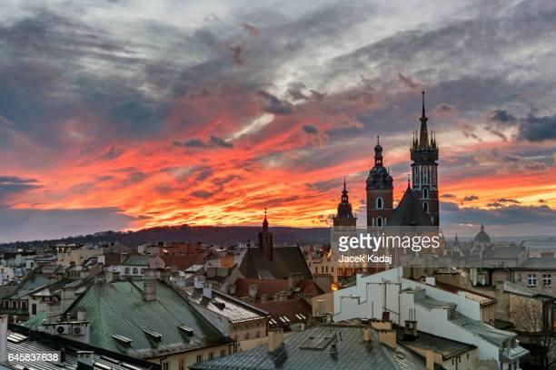 Sunset over Krakow in Poland